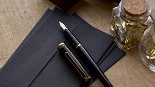 Platinum PTL-5000A-Pluma estilográfica de punta fina de oro de 14 quilates, color negro