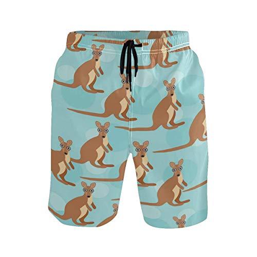 Funny Cute Kangaroo Animal Herren Strandshorts Badehose Schnelltrocknende Boardshorts mit Netzfutter