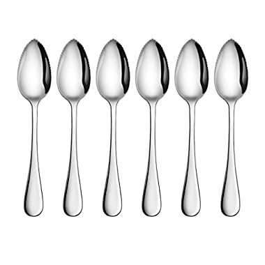 Artaste 59373 Rain 18/10 Stainless Steel Grapefruit Dessert Spoon, 6.35-Inch, Set of 6