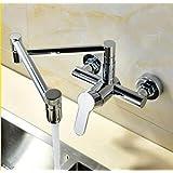 BBB&LIU 折りたたみ式キッチンシンクミキサータップ壁掛け折りたたみ式洗面器蛇口ホット&コールド、クローム