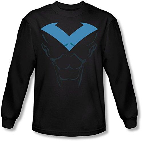 Batman - Männer Nightwing Kostüm Langarm T-Shirt, XX-Large, Black