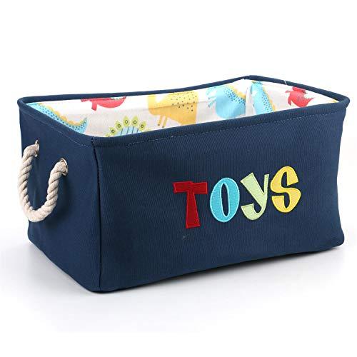 Tebery Contenedor de canasta grande para juguetes Caja de almacenamiento plegable sin tapa Organizadores juguetes niños Color Azul Marino