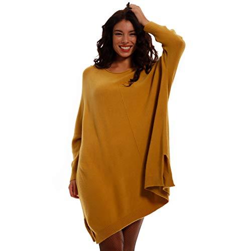 Damen Oversize Pullover Longpullover Strickkleid XXL- Look Strickpullover Loose-Fit Herbst Winter Jumper Plus Size (One Size, Senf)