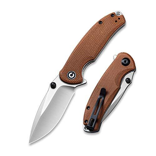 CIVIVI Pintail Flipper Pocket Knife for EDC, Liner Lock Knife 2.97'' S35VN Blade Brown Micarta...