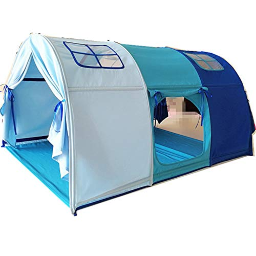 Tents Bed for Boys, Gradient Blue with Cartoon Cars, Yurt Bed for Children Children's Playhouse for Sleeping, Reading (Color : Blue, Size : 100 * 140 * 75CM)