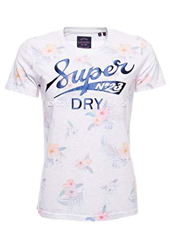 Superdry Super 23 Tropical AOP tee Camiseta, Blanco (Ice Marl 54g), XS (Talla del Fabricante:8) para Mujer