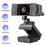 1080P Webcam with Microphone, HD USB Webcam Streaming Computer Web Camera for PC Laptop Desktop Conference Study Skype Video Calling Meeting Recording Gaming, 120-Degree Widescreen with Rotatable Clip