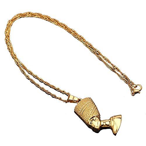 Collares colgantes exóticos de la reina egipcia Nefertiti para mujeres y hombres, joyería de Color dorado, joyería al por mayor, regalo africano
