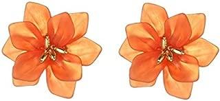 Earrings, Beach Style 925 Silver Pin Hyperbole Acrylic Big Flower Stud Earrings for Women Girls Ladies (Color : Orange)