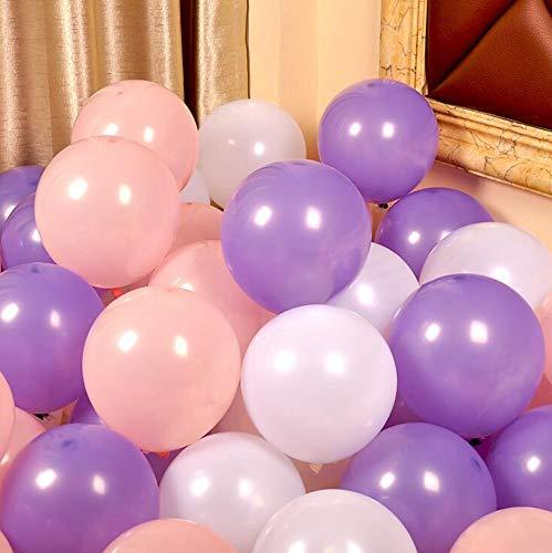 iygnaw 12inch Pearl Balloons Round Latex Balloons Wedding Balloons Birthday Kid Party Float Balloons Toys (Pink & Light Purple &White)