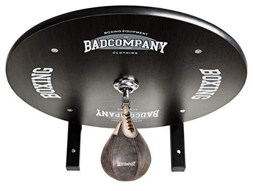 Supreme Speedball Plattform Set inkl. Drehkugellagerung schwarz und Rindsleder Boxbirne med. braun / Boxapparat für die Wandmontage BCA-39