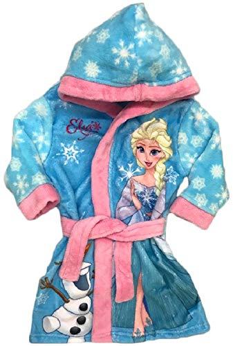 Frozen Eiskönigin Bademantel Kimono Gürtel Kapuze Morgenmantel blau (128)