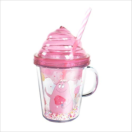 Tazas de 280 ml de 2 colores, portátil, linda taza de postre para bebidas frías, doble capa, para ocio y entretenimiento, plástico, capacidad de 280 ml, color: blanco)