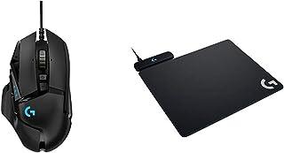 【セット買い】ゲーミングマウス Logicool ロジクール G502RGBh ブラック 最大16,000DPI LIGHTSYNC RGB ウェイト調整 HEROセンサー 国内正規品 2年間メーカー保証&ゲーミング マウスパッド G-PMP-001 ブラック POWERPLAYワイヤレス充電 クロスとハードマウスパット両方同梱 G502WL/G703d/G903/G-PPD-002WL対応