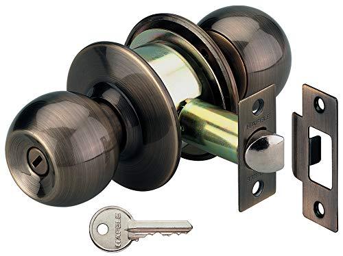 Gedotec Knopf-Türschloss Antik Zimmer-Türbeschlag rund Drehknopf mit Zylinder - Druckknopf | Messing antik | 1 Komplett-Set mit Schrauben