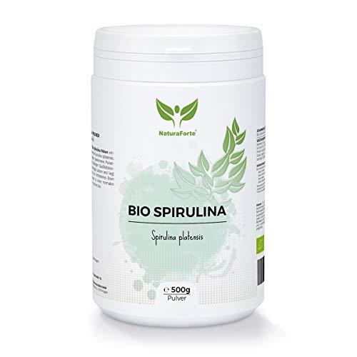 NaturaForte Bio Spirulina Pulver 500g, Nährstoffreich Superfood mit Vitamin A, Chlorophyll, Eisen und Protein, Algen-Pulver vegan ohne Zusätze, Laborgeprüft, Abgefüllt und kontrolliert in Deutschland