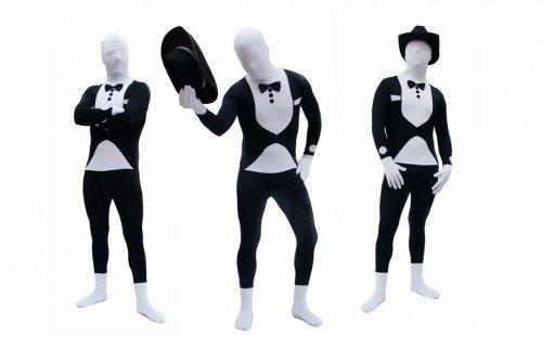 Spandex-Lycra Ganzkörperanzug Body Suit Anzug - Tuxedo / Smoking / Butler Kostüm Gr. L