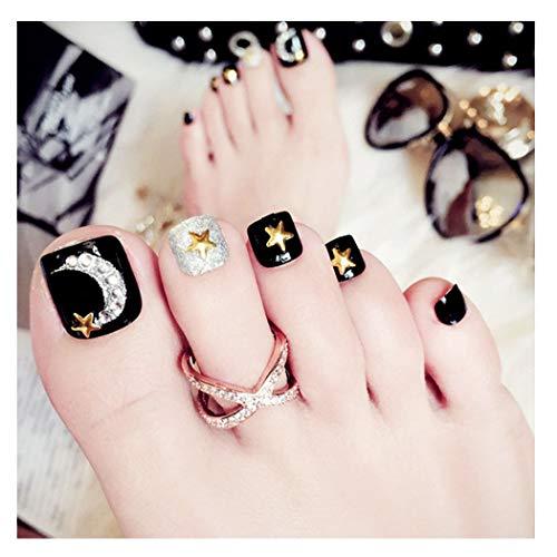 Fairvir 24 uñas postizas de luna, estrellas doradas, cortas de acrílico con diamantes de imitación, uñas...