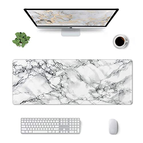 White Marble Mouse Pad,Long Mouse Pad Gaming,Desk Mat Big Mouse Pad (31.5x11.8 in),Non-Slip Keyboard Mouse Mat Desk Pad for Work,Game,Office,Home-Marble Desk Accessories