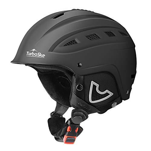 TurboSke Ski Helmet, Snow Sports Helmet, Snowboard Helmet Men Women Youth (Black, L (22'-23.5'))