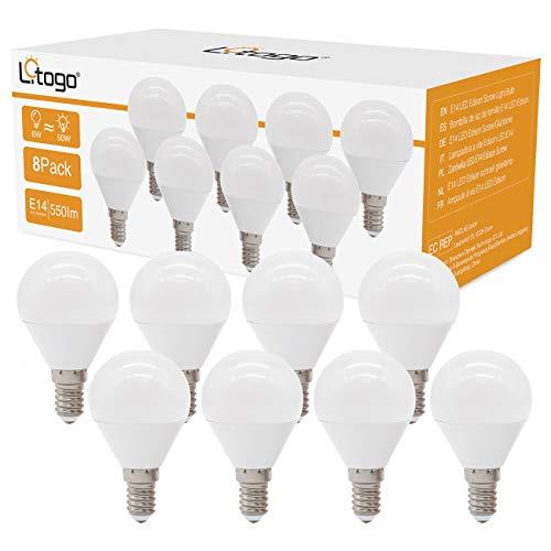 8er Pack E14 Led Warmweiss, litogo Glühbirne E14, Led Lampe 6W Ersatz für 50W Halogenlampen, Tropfenform G45 Leuchtmittel E14 Kronleuchter Led, 3000K 550Lumen Led Birne für Wohnzimmer, Schlafzimmer