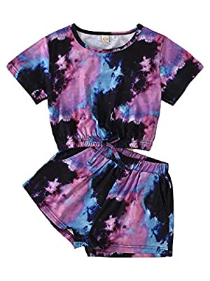 Little Girls Summer Clothes Tie-Dye Print Round Collar Short Sleeve Pullover Top+Elastic Waist Shorts 2Pcs Set Outfits (Purple, 6-7 Years) by Comoraecos