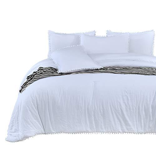 SexyTown-Pom Juego de edredón con Flecos, Suave Microfibra Interior Relleno Ropa de Cama, Bright White(Comforter), Queen(Comforter 90'×90')
