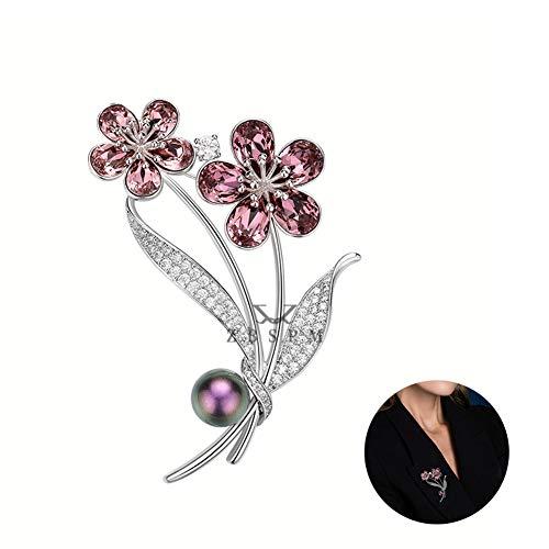 Vrouwen Romantische Bloemen Roze Crystal Broche Pin, Dames High-End Luxe Broches, Trui Jurk Coat Shirt Sieraden Accessoires, Unique Gifts for Her