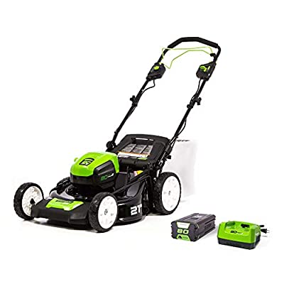 Greenworks MO80L410 Pro 21-Inch Cordless Brushless Self-Propelled Lawn Mower, includes 4.0Ah Battery and Charger