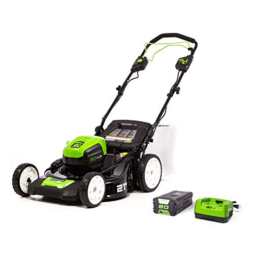 Greenworks MO80L410 Pro 80V 21-Inch Brushless Self-Propelled Lawn Mower 4.0Ah Battery and Charger Included, 4Ah