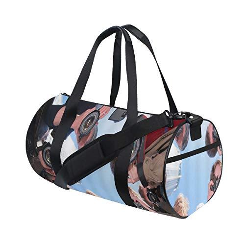 ZOMOY Sporttasche,Journalist Reporter Kamera Paparazzi,Neue Bedruckte Eimer Sporttasche Fitness Taschen Reisetasche Gepäck Leinwand Handtasche