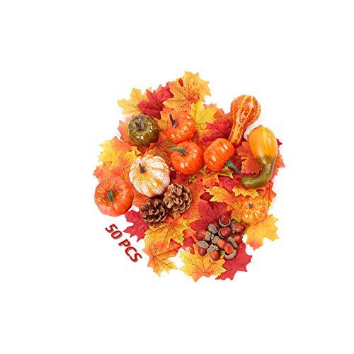Ziyero 50 Pezzi Mini Zucche Autunnali Artificiali Ghiande delle Pigne delle Foglie di Acero Aspetto Realistico, per Halloween Ringraziamento Autunno Raccolta Puntelli per la Decorazione Domestica