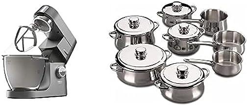 ماكينة مطبخ كينوود شيف تيتانيوم XL، 6.7 لتر، 1700 وات، فضي، KVL8472S + فاجور ستانلس ستيل 13 قطعة
