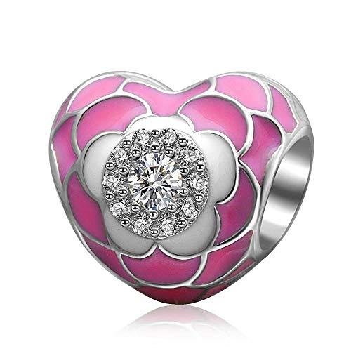 Abalorio de plata de ley 925 con diseño de flor rosa para pulseras o collares similares