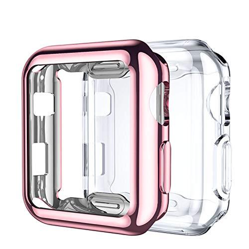 Upeak Compatibile con Apple Watch Series 3 Custodia 38mm, 2 Pacchi Protettiva in Morbido TPU Compatibile con iWatch Series 1/2/3, Chiaro/Rosa