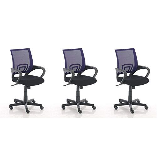 Lüllmann Genius - Lote de 3 sillas de oficina giratorias, color morado