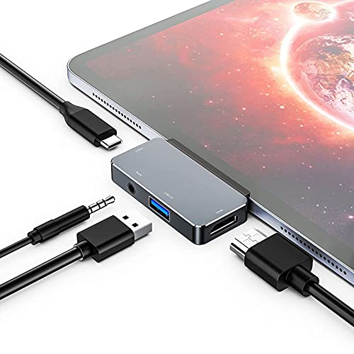 GEQWE Concentrador USB C para iPad Pro, Base USB C 4 En 1 A HDMI, USB 3.0, USB-C, Audio De 3,5 Mm Y Base PD De 60 W Compatible con El Nuevo iPad Pro 2021, 2020, 2018, iPad Air 2020