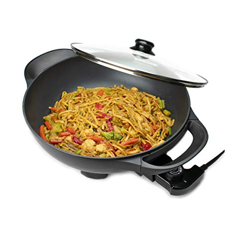 Brentwood SK-69BK 13-Inch Non-Stick Flat Bottom Electric Wok Skillet with Vented Glass Lid, Black