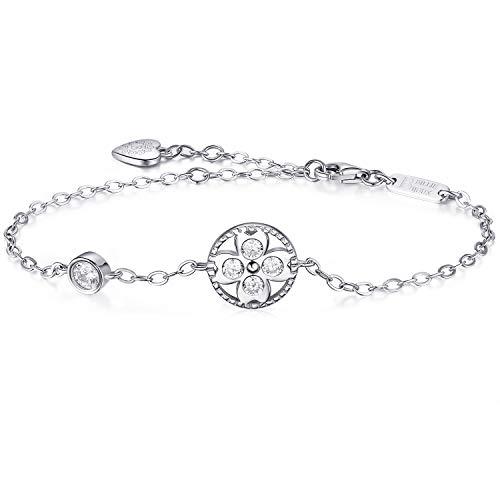 Billie Bijoux Cuore in argento sterling 925 Fascino fortunato trifoglio a quattro foglie Bracciale con diamanti regolabile Placcato in oro bianco Regali ideali per le donne