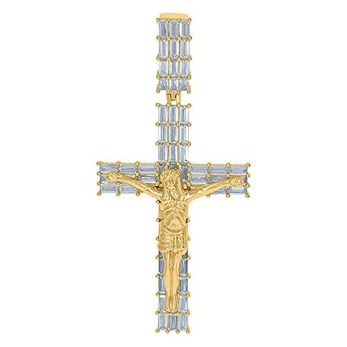 Colgante de plata de ley 925, tono amarillo, para hombre, con circonita cúbica, crucifijo, cruz religiosa, colgante de joyería para hombres