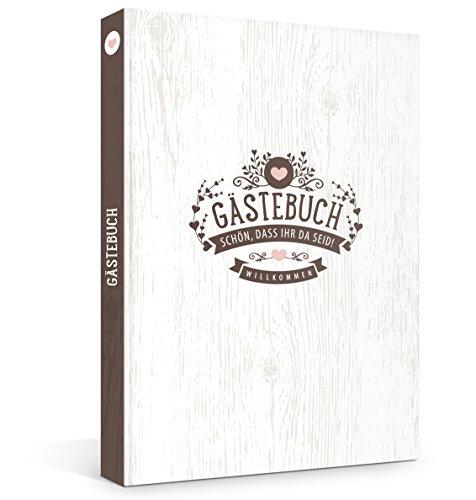 Hardcover Gästebuch in rustikaler Vintage Optik, Fadenheftung (kein Ausreißen d. Seiten), 176 Blanko-Seiten bzw. 88 Blatt, 21 x 33 cm, für z.B. Hochzeit, Geburtstag, Jubiläum oder die Ferienwohnung