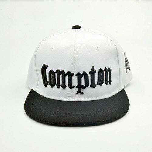 CWH-hat Compton Snapback Männer Street Dance Hip Hop Mütze Jugend Street Dance Baseballmütze, Weiß, einstellbar