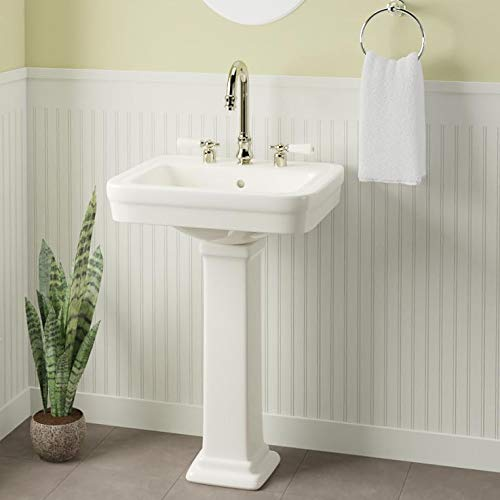 Magnus Home Products Tifton 200 Vitreous China Pedestal Bathroom Sink, 8