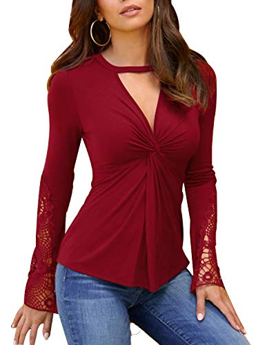 YOINS Women Sexy Long Sleeve V Neck Tops Slimming Lace Design Blouses Cross Front Solid Tunic Tops Cut Out T Shirts A-red-New Medium