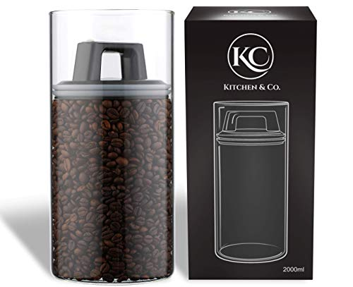 Kitchen&CO. Bocaux de conservation hermétiques avec couvercle hermétique - Boîte de conservation avec couvercle anti-mites - Boîte à café en verre borosilicate sans BPA (2000 ml)