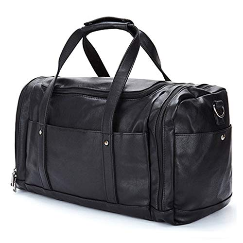 Yhjkvl Gym Bag Sports Duffle Bag PU Leather Handbags Men's Travel Bags Short-distance Business Luggage Bags Travel Sports Fitness Backpack Fitness Bag (Color : Black, Size : 50x26x18cm)