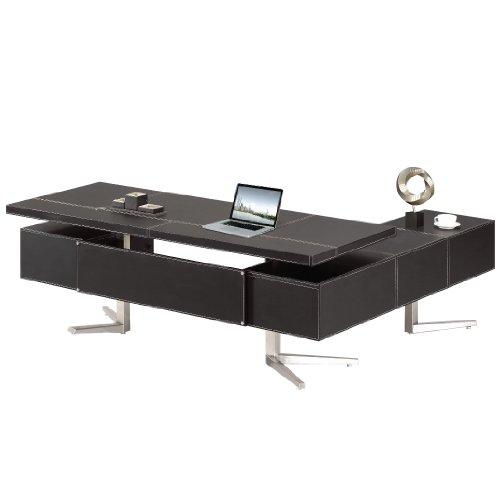 Jet-line Chef Schreibtisch Büromöbel Buero Büroausstattung Leder Schreibtisch Bari Links in schwarz 2,2 m Homeoffice Home Office