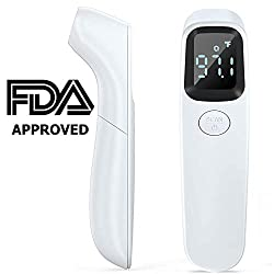 [2020 Updated] AuLinx Full White Body and Object Digital Infrared Thermometer Non-Contact IR Forehead Thermometer - Ear and Forehead Function with Fever Alarm and Memory Function - Ideal for Indoor,