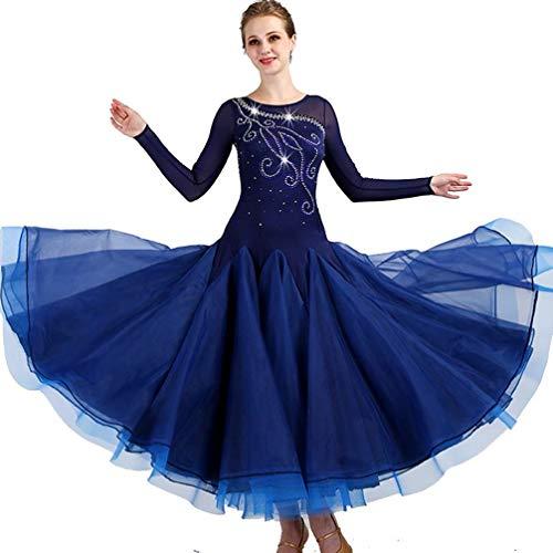 ZZX Professionelle Walzer Modernen Gesellschaftstanz Strass Big Swing Kleid,Nationaler Standardtanz Tango Aufführungspraxis Langärmlige Tanzkleidung (Color : Blue-1, Size : L)