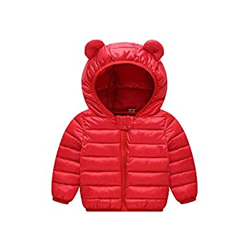 Unisex Little Boys Girls clothes Down Jacket Hoodie Coat Winter Warm Outerwear  Red 2-3 T